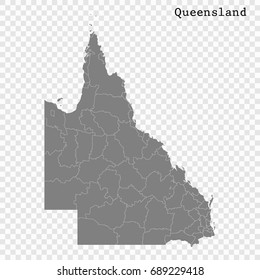 High Quality map of Queensland is a state of Australia, with borders of the Local government areas