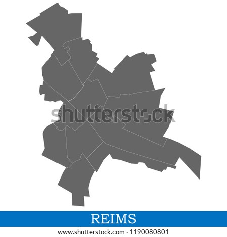 High Quality Map Reims City France Stock Vector (Royalty Free ...
