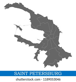 High Quality map of Saint Petersburg is a city of Russia, with borders of districts
