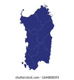 High Quality map of Sardinia is a region of Italy, with borders of the provinces