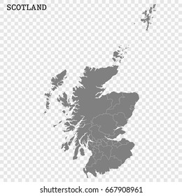High Quality map of Scotland is a region of United Kingdom, with borders of the counties