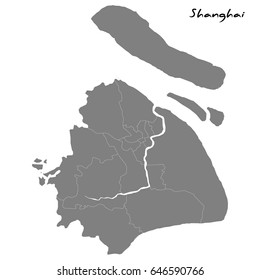 High quality map of Shanghai with borders of the regions