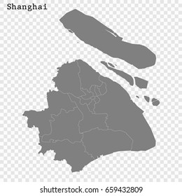High Quality map of Shanghai is a city of China, with borders of the regions