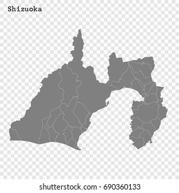 High Quality map of Shizuoka is a prefecture of Japan with borders of the districts
