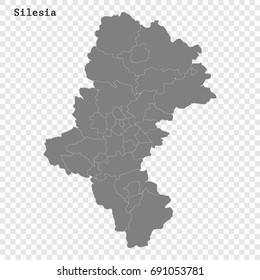 High Quality map of Silesia is a Voivodeship of Poland with borders of the powiats