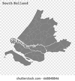 High Quality map of South Holland is a province of Netherlands, with borders of the Municipalities