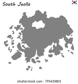 High Quality map of South Jeolla is a province of South Korea