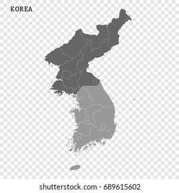 High quality map of South and North Korea with borders of the regions