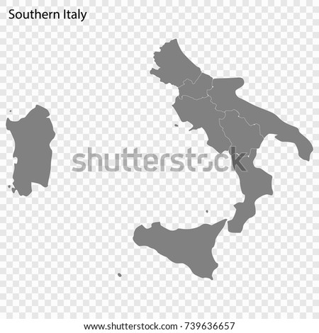 High Quality Map Southern Italy Region Stock Vector Royalty Free