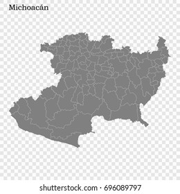 High Quality map of Michoacán is a state of Mexico, with borders of the municipalities