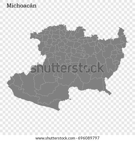 High Quality Map State Mexico Borders Stock Vector Royalty Free