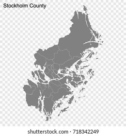 High Quality map of Stockholm is a county of Sweden, with borders of the Municipalities