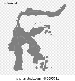 High Quality map of Sulawesi is a island of Indonesia, with borders of the regions