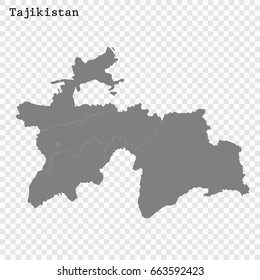 High quality map of Tajikistan with borders of the regions or counties