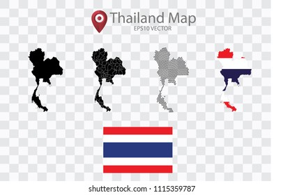 High quality map of Thailand with black dots and Flag map,on transparent background.Vector eps 10