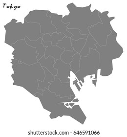High quality map of Tokyo with borders of the regions
