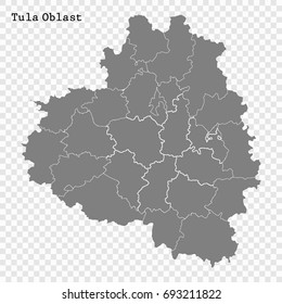 High Quality map of Tula Oblast is a region of Russia with borders of the districts
