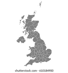 High quality map of United Kingdom with borders of the regions.