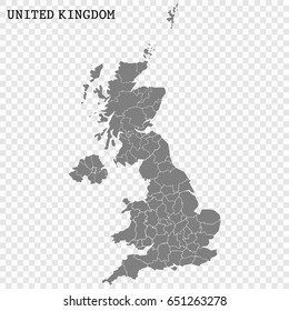 High quality map of United Kingdom with borders of the regions or counties