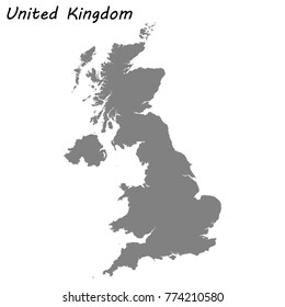 High quality map of United Kingdom