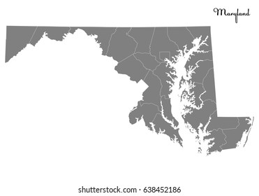 High Quality map of U.S. state of Maryland with borders of the counties