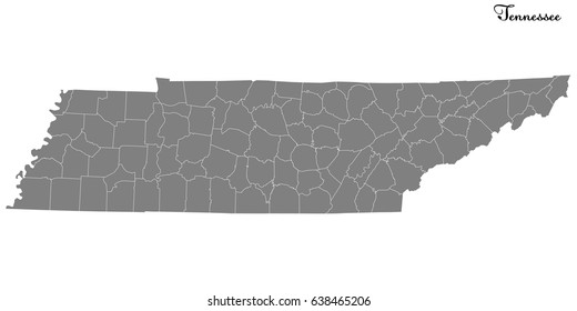 High Quality map of U.S. state of Tennessee with borders of the counties