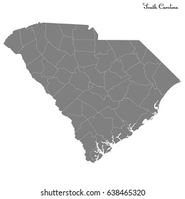 High Quality map of U.S. state of South Carolina with borders of the counties