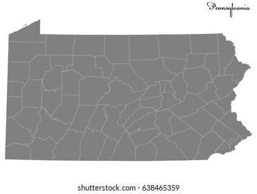 High Quality map of U.S. state of Pennsylvania with borders of the counties