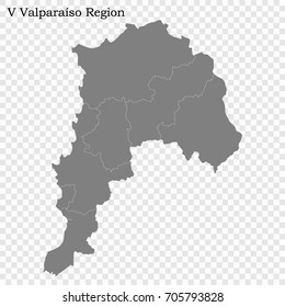 High Quality map of Valparaiso is a region of Chile with borders of the provinces