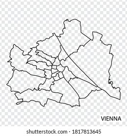 High Quality map of Vienna is a city  Austria, with borders of the regions. Map of Vienna for your web site design, app, UI. EPS10.