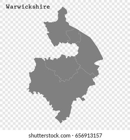 High Quality map of Warwickshire is a ceremonial county of England, with borders of the counties