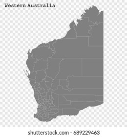 High Quality map of Western Australia is a state of Australia, with borders of the Local government areas