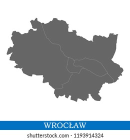 High Quality map of Wroclaw is a city in Poland, with borders of districts