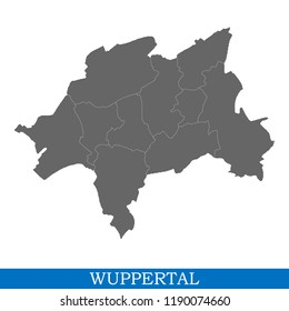 High Quality map of Wuppertal is a city of Germany, with borders of districts