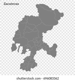 High Quality map of Zacatecas is a state of Mexico, with borders of the municipalities