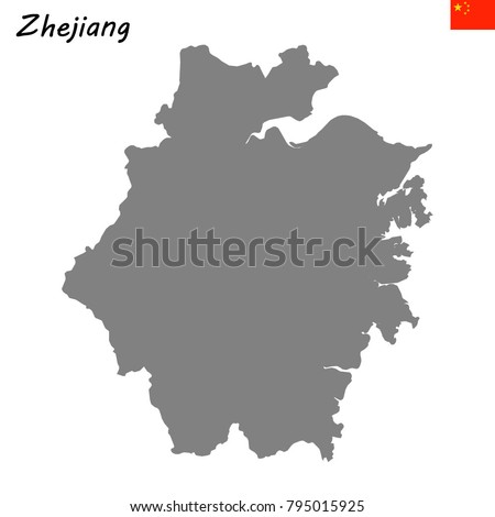 High Quality Map Zhejiang Province China Stock Vector Royalty Free