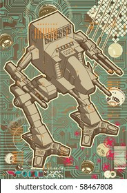 High quality Mech warrior design on hectic technology background.