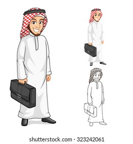 High Quality Middle Eastern Businessman Holding a Briefcase or Bag Cartoon Character  Include Flat Design and Outlined Version Vector Illustration