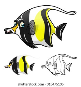 High Quality Moorish Idol Cartoon Character Include Flat Design and Line Art Version