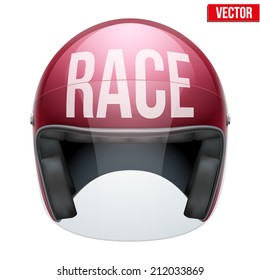 High quality motorcycle helmet with inscription Race in front. Vector Illustration isolated on white background.
