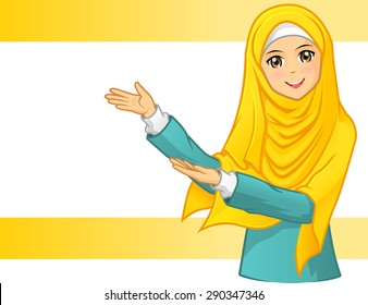High Quality Muslim Woman Wearing Yellow Veil with Welcoming Arms Vector Illustration
