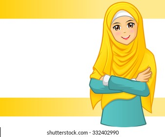 High Quality Muslim Woman Wearing Yellow Veil with Folded Arms Vector Illustration