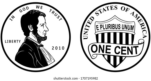 High quality one cent coin US America . Abraham Lincoln Observe and union shield reverse 2010 present penny black and white isolated vector