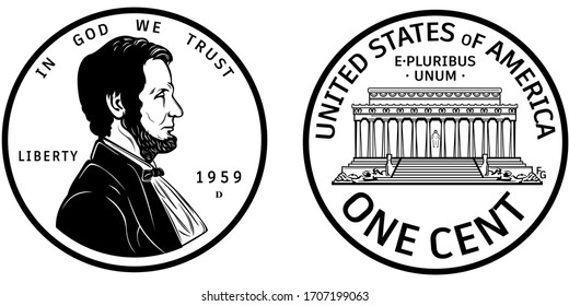 High quality one cent coin US America . Abraham Lincoln Observe and Lincoln memorial reverse 1959 penny black and white isolated vector