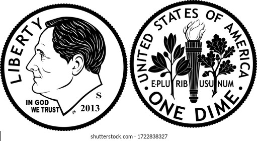 High quality one dime ten cent coin US America vector black and white isolated. The obverse of the current dime depicts the profile of President Franklin D. Roosevelt and the reverse boasts an olive b