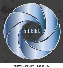 High quality original trendy vector illustration of geometric blue steel logo