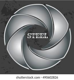 High quality original trendy vector illustration of geometric steel logo