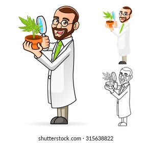 High Quality Plant Scientist Cartoon Character Looking at a Plant Through a Magnifying Glass Include Flat Design and Line Art Version