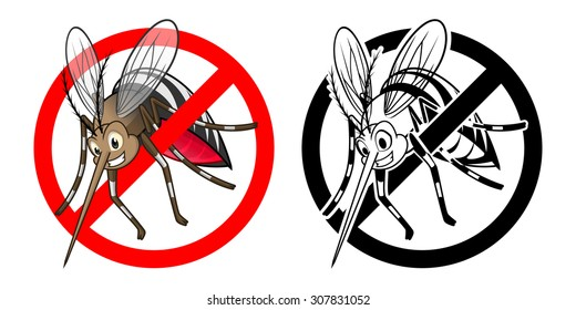 High Quality Prohibition Sign Mosquito Cartoon Character with Black and White Version Vector Illustration