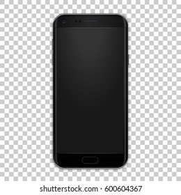 High quality realistic smart phone mock up with empty screen. Black detailed mobile phone with camera, volume and power buttons. Vector illustration.